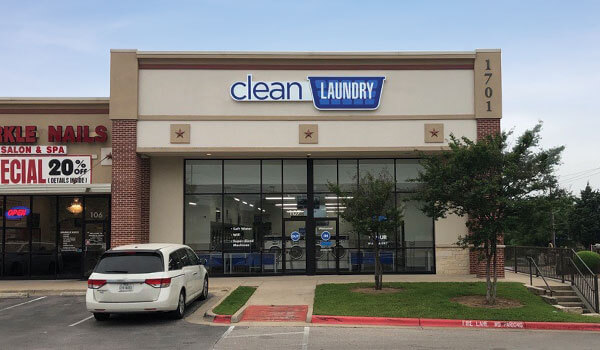 Clean Laundry laundromat storefront on Parmer Ln in Austin, TX